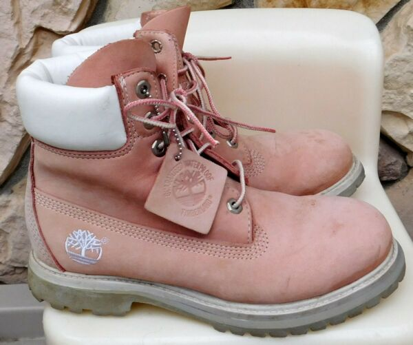 VTG TIMBERLAND PINK 7M Boots Shoes Hi Top Leather Uppers Waterproof $79.95