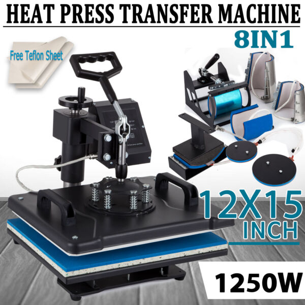 8 in 1 Heat Press Machine Digital Transfer Sublimation T Shirt Mug Hat Plate Cap $178.00