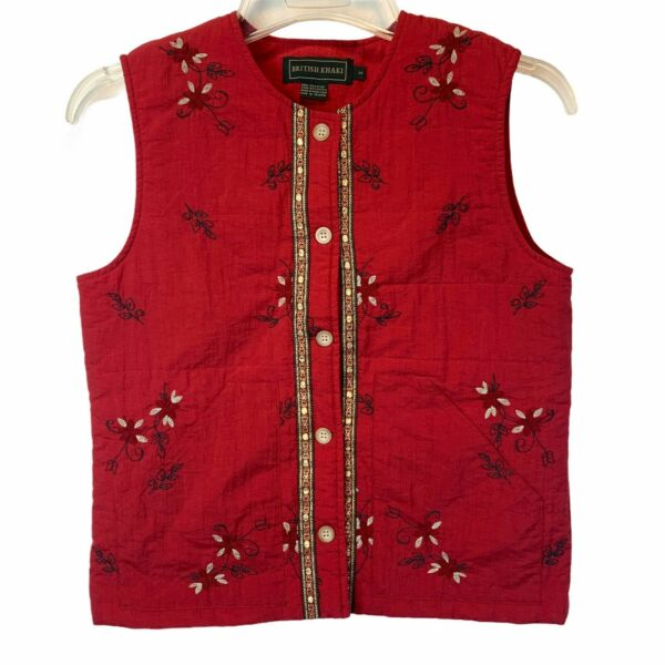 British Khaki Red Embroidered Button Front Vest Women#x27;s Size Small Lightweight