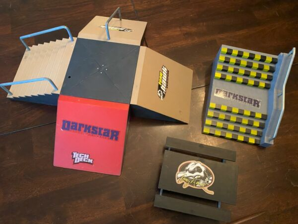 TECH DECK TONY HAWK TRICK STREET BENCH SKATE PARK PARTS LOT USED AS IS $27.99