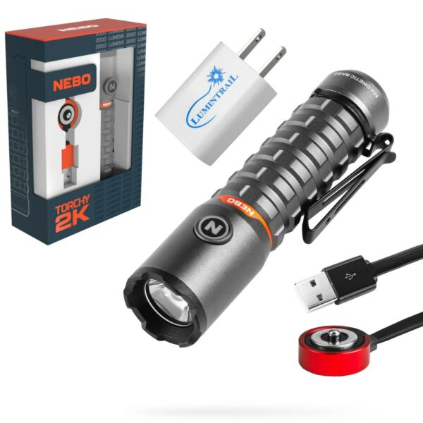 Nebo Torchy 2K Rechargeable Flashlight 2000 Lumen Pocket Light with USB Wall $49.99
