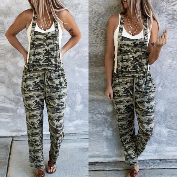 ❤️ Womens Camouflage Jumpsuit Bib Pants Ladies Playsuit Casual Overalls Trousers