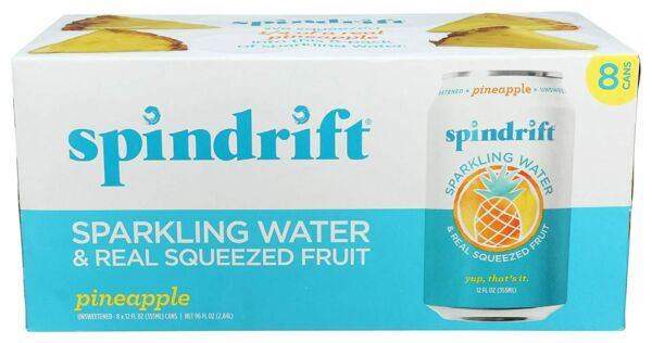 Spindrift Sparkling Water Pineapple 12 oz Cans Pack Of 8