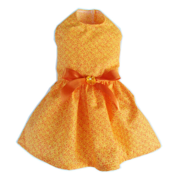 Orange Sersucker Dog Dress Little Doggie Clothes Small Dog Apparel Size XXXS $9.99