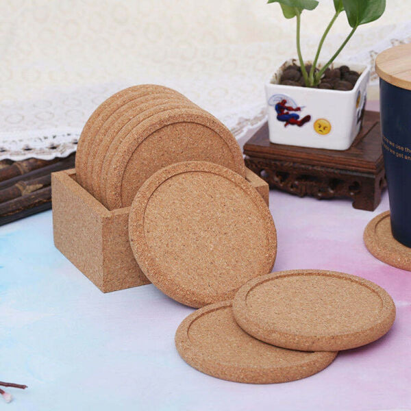 2X Natural Cork Coasters Drinks Absorbent Heatamp;Water Resistant Durable Saucers $7.89