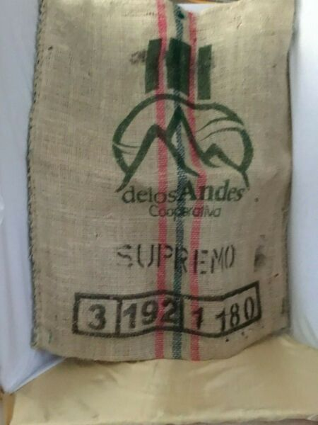 BURLAP COFFEE SACK Excelso Cafe De Colombia 34quot;x28quot; Great For Wall Hanging