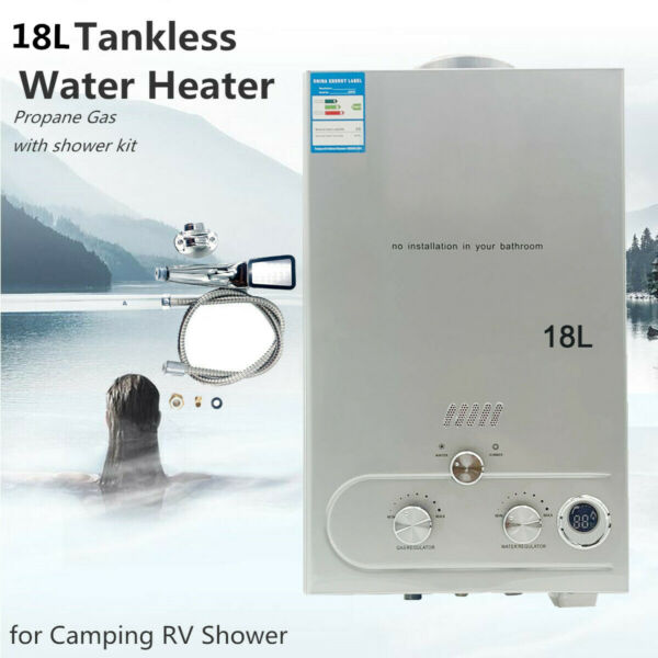 18L LPG Instant Heater Propane Gas Tankless Home Hot Water Heater Outdoor Gray $138.32