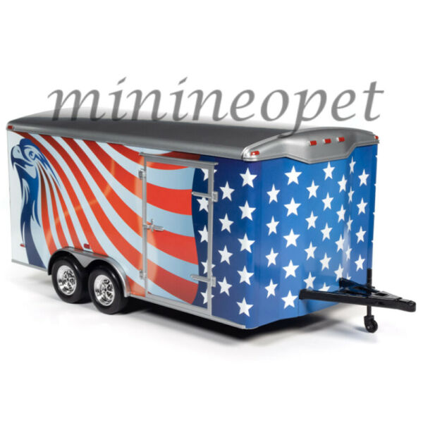 AUTOWORLD AMM1266 FOUR WHEEL ECLOSED TRAILER 1 18 USA w AMERICAN FLAG GRAPHICS $43.90
