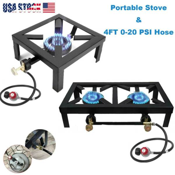 Propane Cooker Burner Stove Gas Outdoor Cooking Camping Stand BBQ Grill w Hose