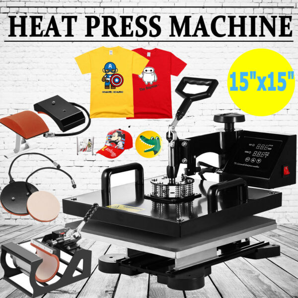 Combo 15quot;x15quot; T Shirt Heat Press Transfer Machine 5 IN 1 Sublimation Swing Away $149.50