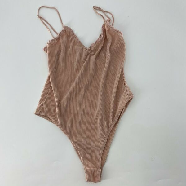 Out from Under for Urban Outfitters Ribbed Velvet Bodysuit Size Large Women Pink $25.00