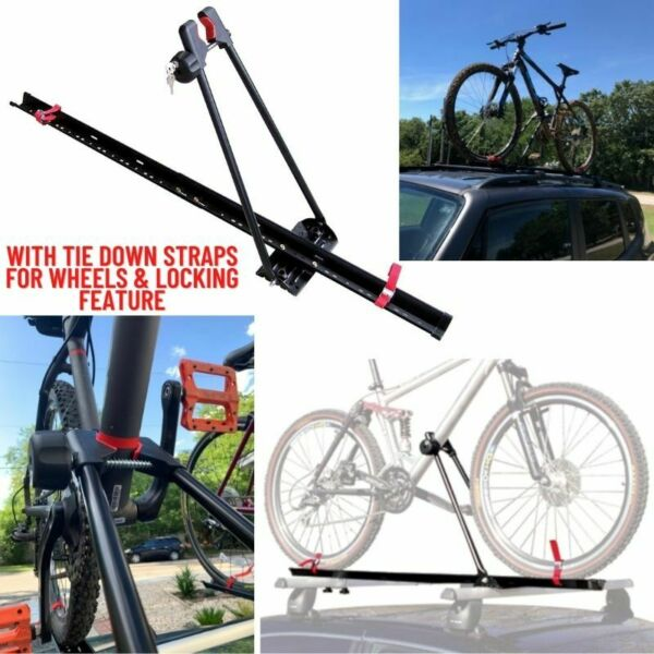 Bike Rack for Car Roof Universal Upright Single Bicycle Carrier Trailer Lockable $62.59