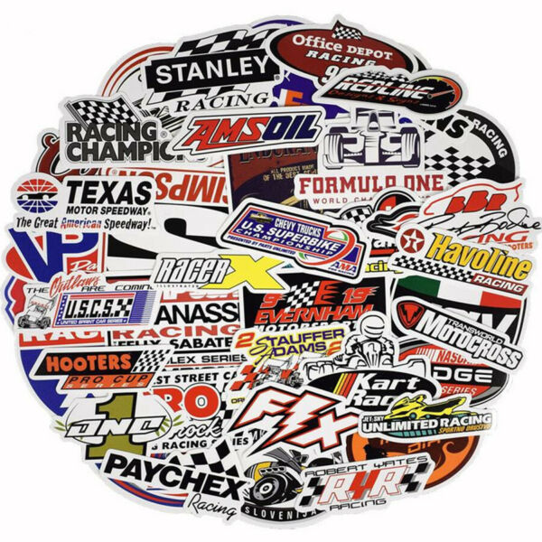 50 Racing Car Cool Styling Stickers DIY Bike Laptop Skateboard Bicycle Removable $7.35