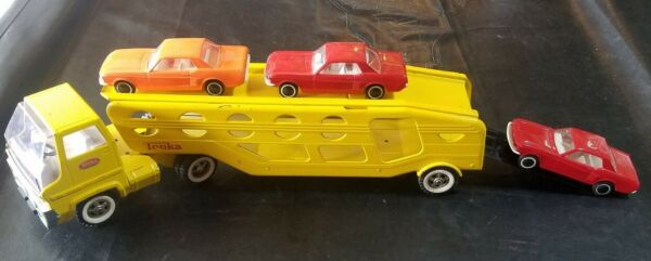 Vintage Yellow Tonka Truck Transport Car Carrier 3 Ford Mustangs Rare $200.00