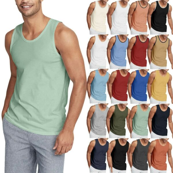 Mens TANK TOP Shirt Casual Sleeveless Tee Gym Jersey Athletic Solid Beach Basic $5.99