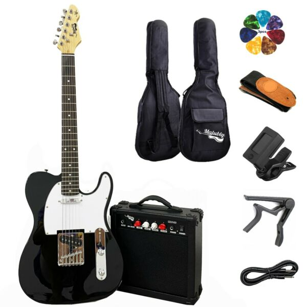 Full Size Electric Guitar 20W Amp Case and Accessories Pack Black Beginner Set $58.00