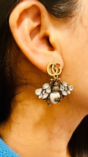 Gucci GG Drop Bug Earring In Antique