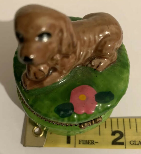 Trinket Box Dog on Green 2quot; Jewelry Jar Container $8.00