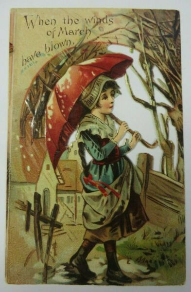 Vintage Antique PANAMA COFFEE Trade Card Advertising Embossed Diecut MARCH WINDS