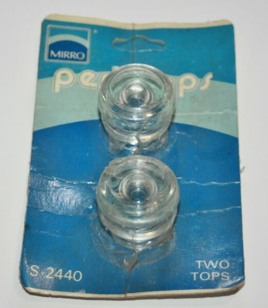 2 Vintage Clear Glass Coffee Percolator Replacement Top Knob Lid Mirro screw on