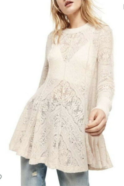 New Free People Coffee In The Morning Sheer Lace Tunic Top Sweater Blouse Small