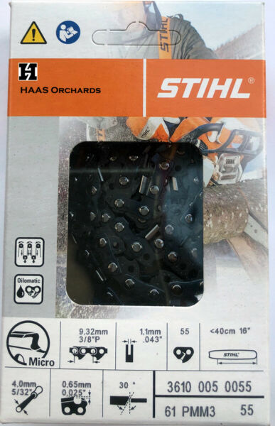 Stihl Chain 61PMM3 55 3610 005 055 3 8quot; Pitch .043 55DL 16quot; bar MS170 PMM355 $20.75