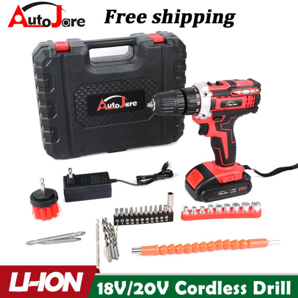 20V Electric Drill 3 8quot; Power Cordless Screwdriver 31PCS Drill Set with Battery $38.35