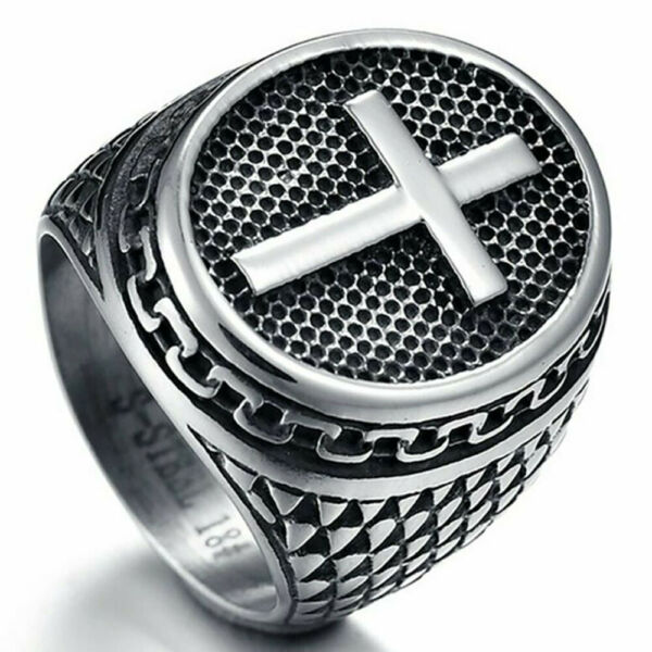 Unique Mens 925 Silver Ring Christian Cross Ring Party Jewelry Gifts Size 7 13 $3.88