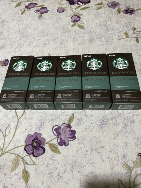 Lot of 5 Boxes of Starbucks Pike Place Roast Nespresso Capsules 10 in each box