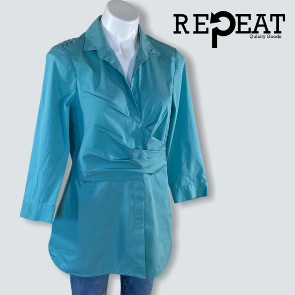 LaFayette148 New York 3 4 Sleeve Teal Tunic Blouse Size 10 $46.22