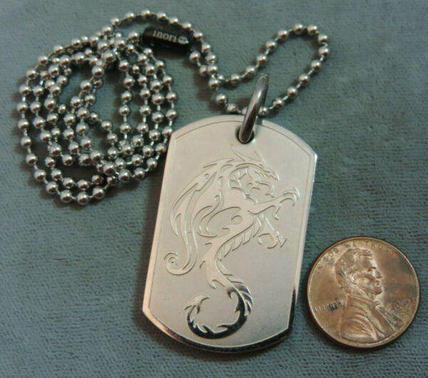 Inori Stainless Dog Tag Pendnat Dragon Design 20quot; Bead Chain Necklace CL 108 $44.99