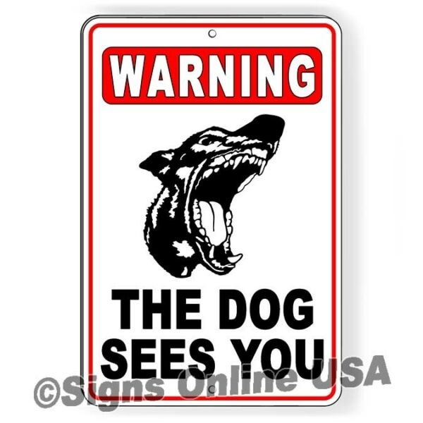 Warning The Dog Can See You Sign Or Decal Beware of dog dogs doberman bites $15.89