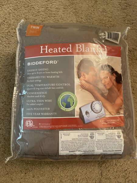 New Biddeford Therapeutic Warmth Electric Heated Blanket Twin Gray $59.99