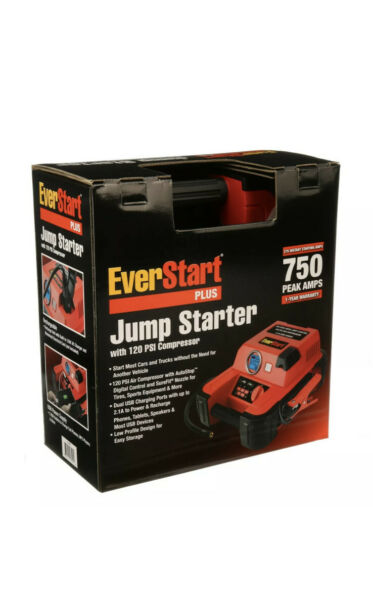 Auto Battery Jump Starter Air Compressor 750 Peak Amps Portable Car SUV Charger $41.99