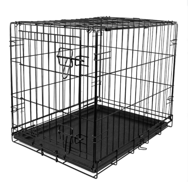 Single Door Folding Dog Crate with Divider X Small 24quot;L $26.95