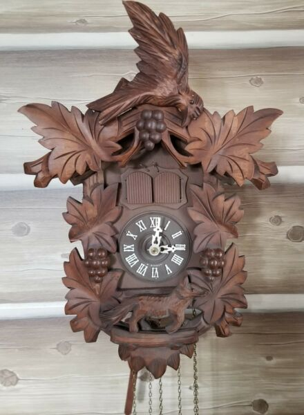 ❤ Vtg Germany Black Forest Cuckoo 3 weight Clock Swiss Musical Dog Coyote WORKS