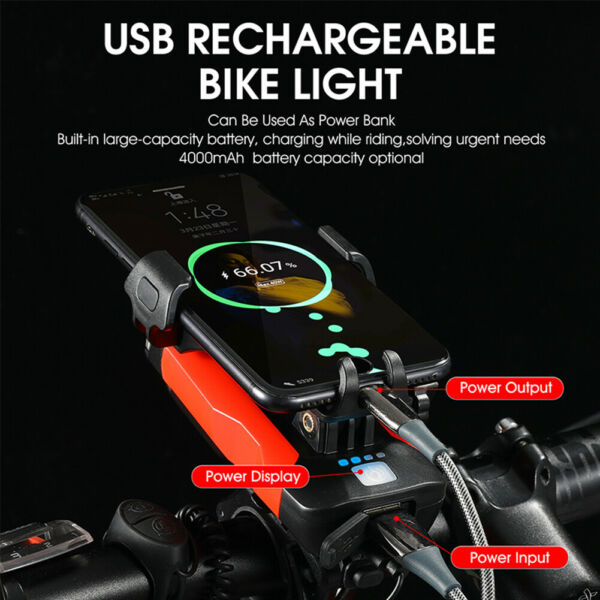 Bicycle Light Phone Holder Horn Bell USB Rechargeable Lamp Bike Accessories $23.44