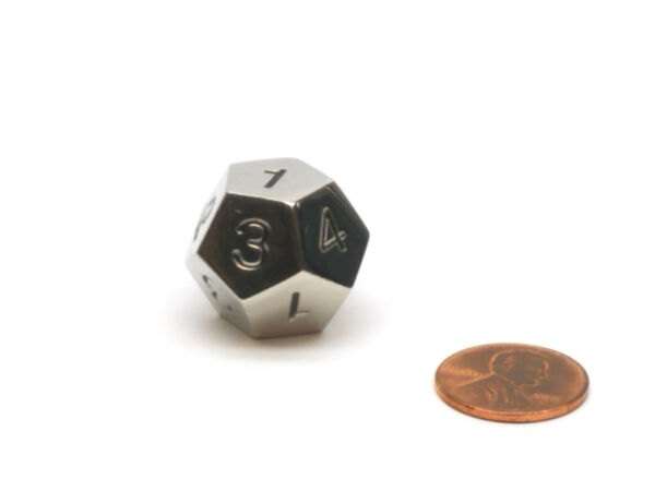 Single D12 20mm Metal Die Numbered 1 to 4 Three Times Silver with Black $7.99