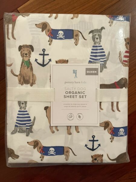 NWT Pottery Barn Kids SALTY DOG QUEEN Sheet SET BEACH YELLOW LAB Adorable $149.99