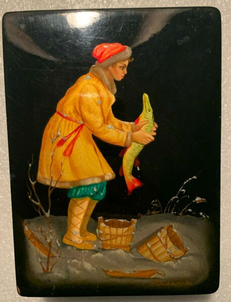 Signed Russian Black Lacquer Box Woman Ice Fishing in Snow