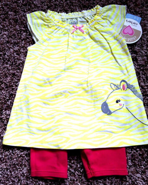 Girl#x27;s Size 3 6 M Month Two Piece Carter#x27;s Yellow Zebra NWT Top amp; Bike Shorts $17.00