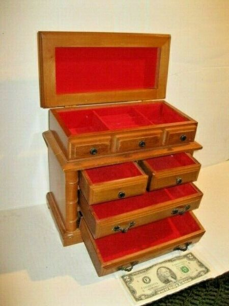 Vintage Large Wood Jewelry Chest Box Wit 4 Drawers MADE IN JAPAN