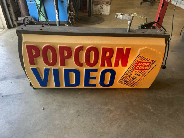 Popcorn video sign not porcelain gas and oil Chevrolet and Ford $1475.00