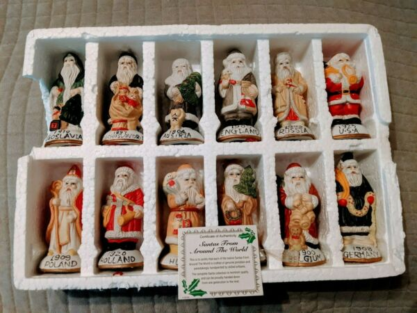 Vintage Box of 12 Hand Painted Porcelain quot;Santas from Around the Worldquot; COA