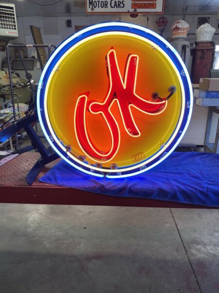 neon OK use car porcelain sign Chevrolet and Ford gas and oil $3875.00