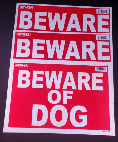 BEWARE OF DOG Sign 8quot; x 12quot; Pack of 3 $8.23