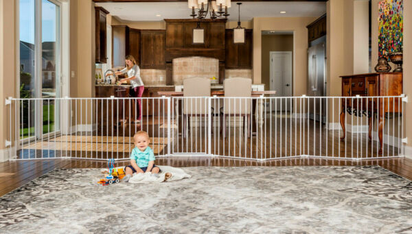 Baby Pet Dog Extra Wide Safety Metal Gate Playpen Indoor Outdoor Child Fence $125.35