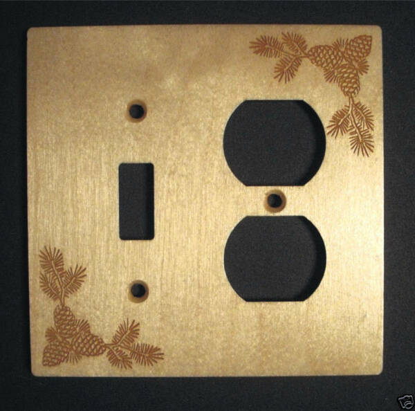 Engraved Pine Cone Wood Switch amp; Outlet Combo Cover $10.99