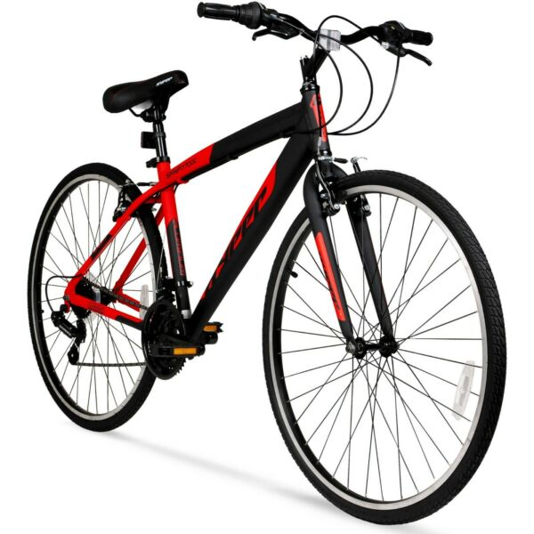 New Hyper Bicycles 700c Men#x27;s SpinFit Hybrid Bike Black and Red Free shipping $130.99