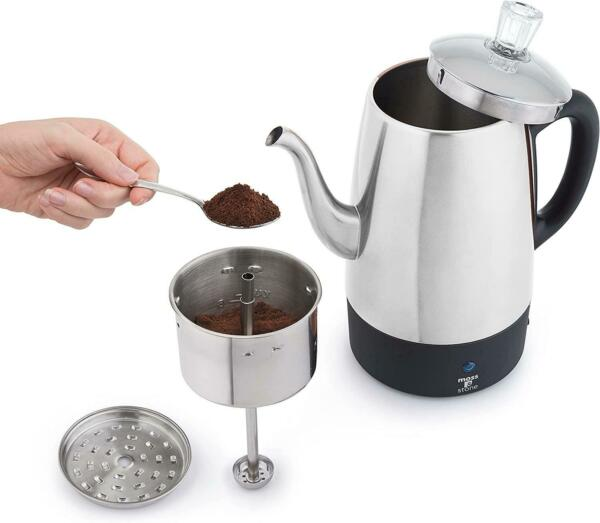 Moss amp; Stone Electric Coffee Percolator Silver Body with Stainless Steel Lids